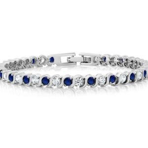 White & Blue Sapphire Tennis Bracelet